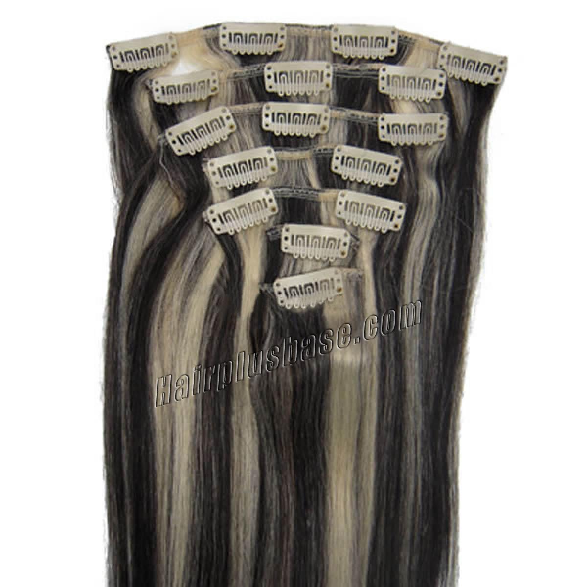15 Inch #1b/613 Clip In Human Hair Extensions 7pcs no 1