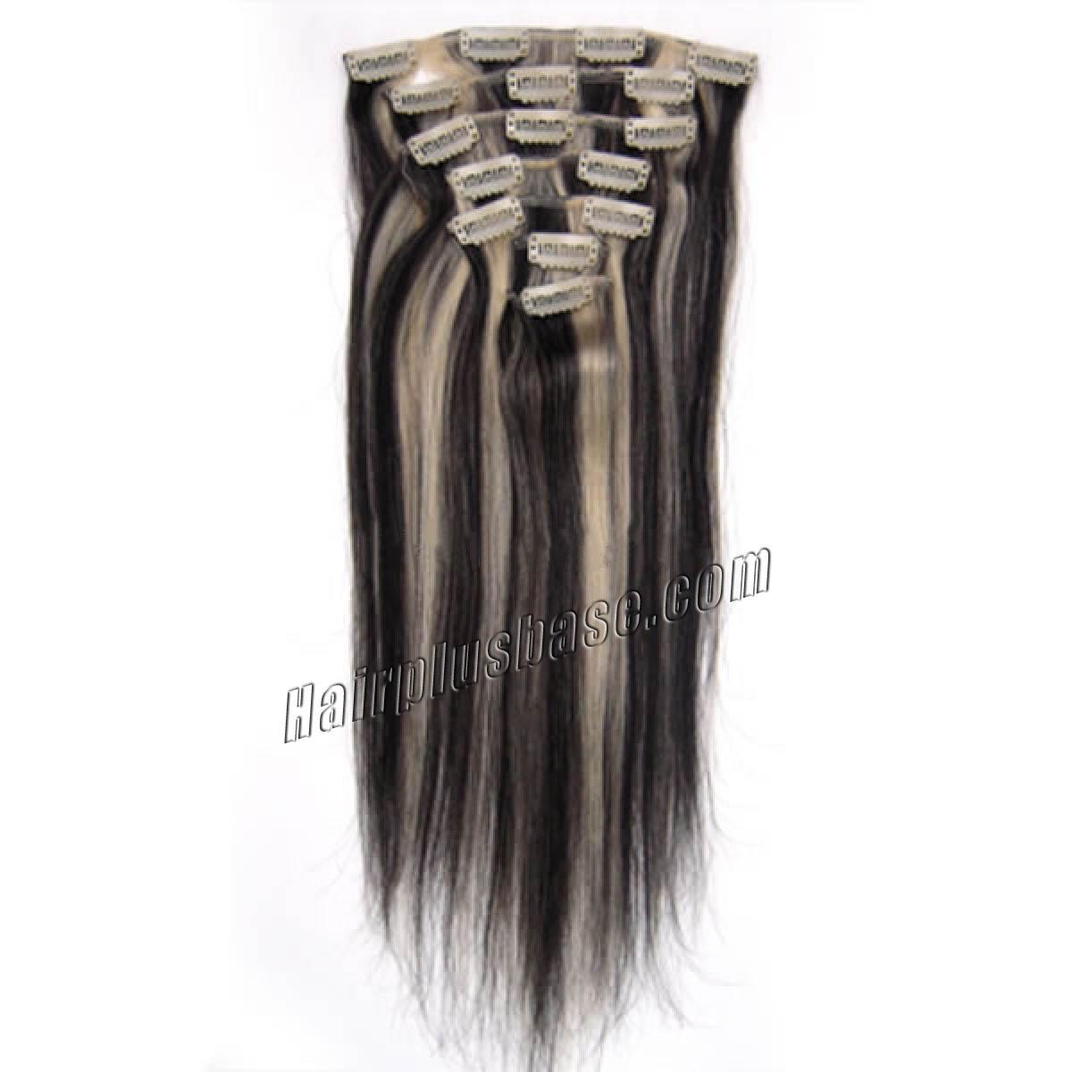15 Inch #1b/613 Clip In Human Hair Extensions 7pcs no 2