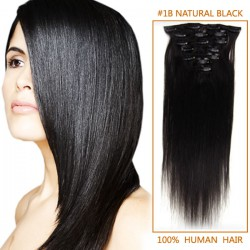 15 Inch #1b Natural Black Clip In Human Hair Extensions 11pcs