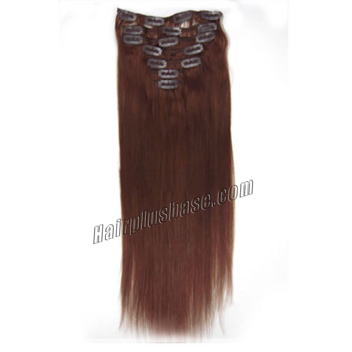 15 Inch #33 Dark Auburn Clip In Human Hair Extensions 7pcs no 2