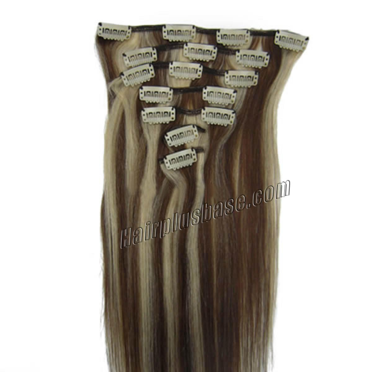 15 Inch #4/613 Clip In Human Hair Extensions 7pcs no 1