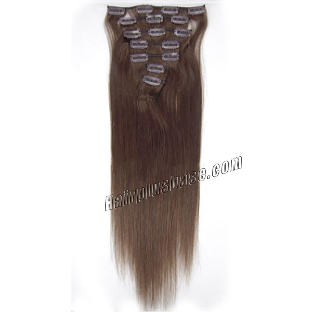 15 Inch #4 Medium Brown Clip In Human Hair Extensions 7pcs no 2