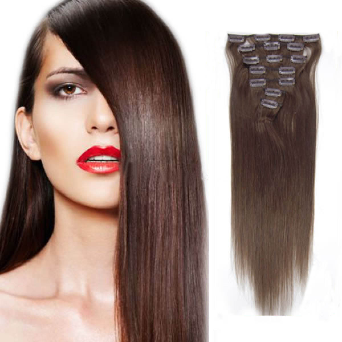 15 Inch 4 Medium Brown Clip In Human Hair Extensions 7pcs
