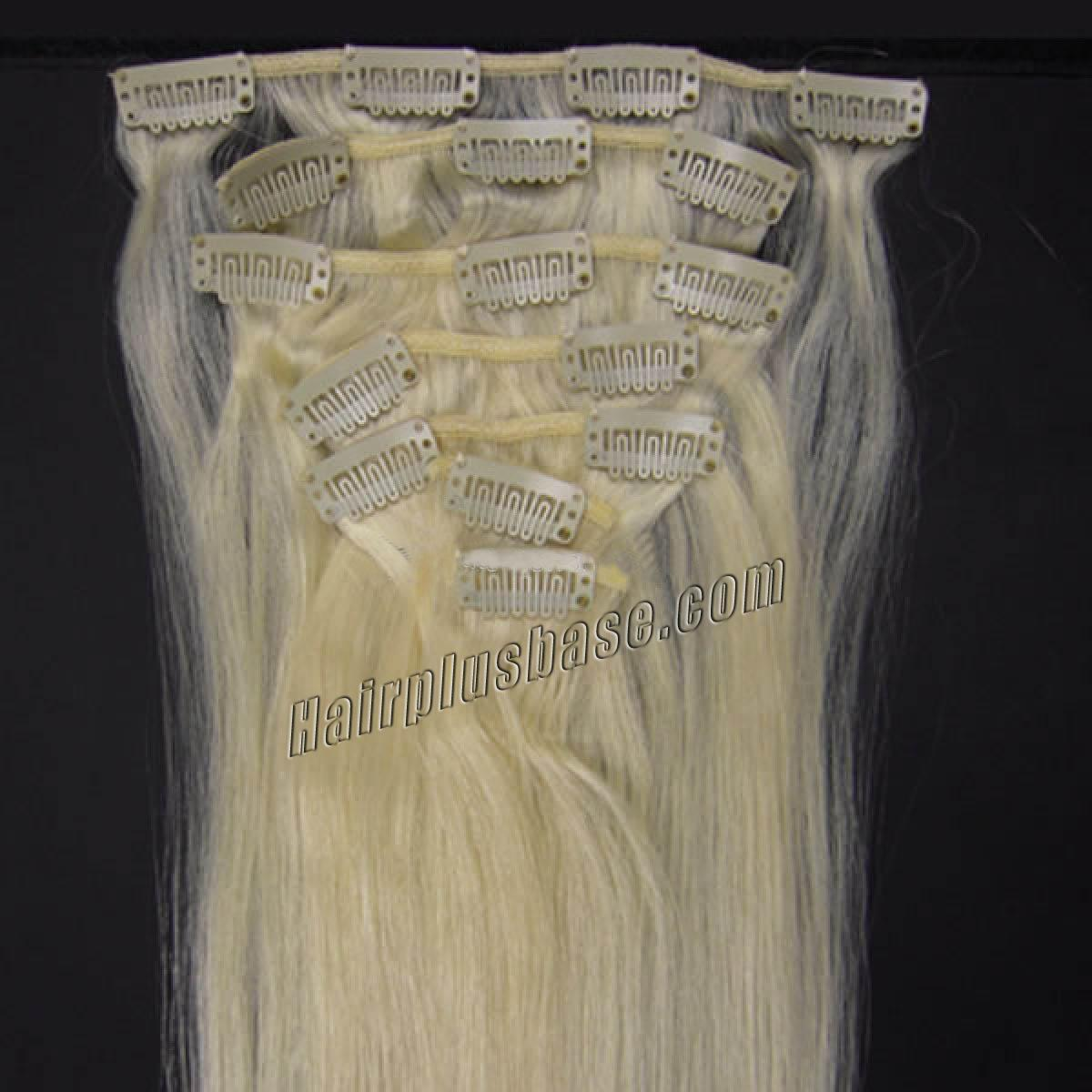 15 Inch #60 White Blonde Clip In Human Hair Extensions 7pcs no 1