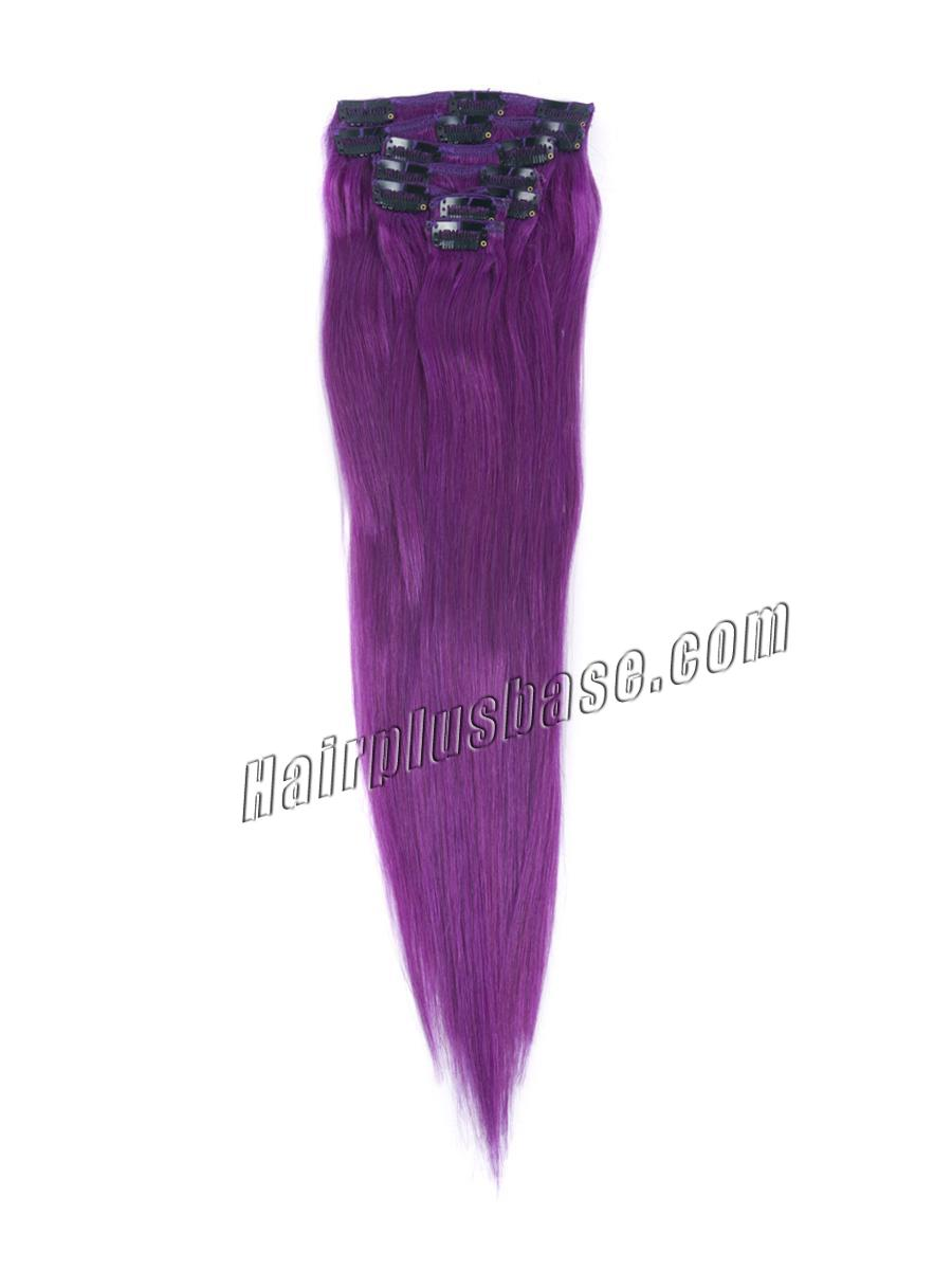 15 Inch Lila Clip In Human Hair Extensions 7pcs no 1