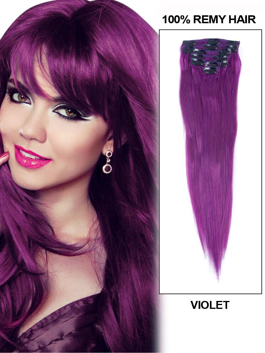 15 Inch Lila Clip In Human Hair Extensions 7pcs