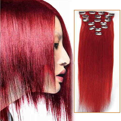 15 Inch Red Clip In Human Hair Extensions 7pcs