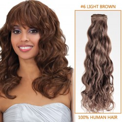 16 Inch  #6 Light Brown Curly Brazilian Virgin Hair Wefts