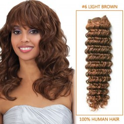 16 Inch  #6 Light Brown Deep Wave Indian Remy Hair Wefts