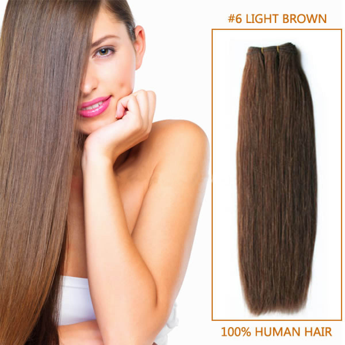 16 Inch  #6 Light Brown Straight Brazilian Virgin Hair Wefts