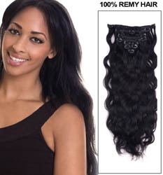16 Inch #1 Jet Black Clip In Indian Remy Hair Extensions Body Wave 11 Pcs
