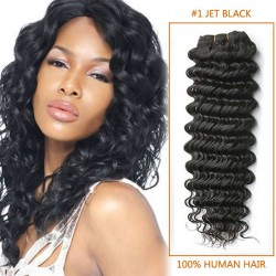 16 Inch #1 Jet Black Deep Wave Indian Remy Hair Wefts