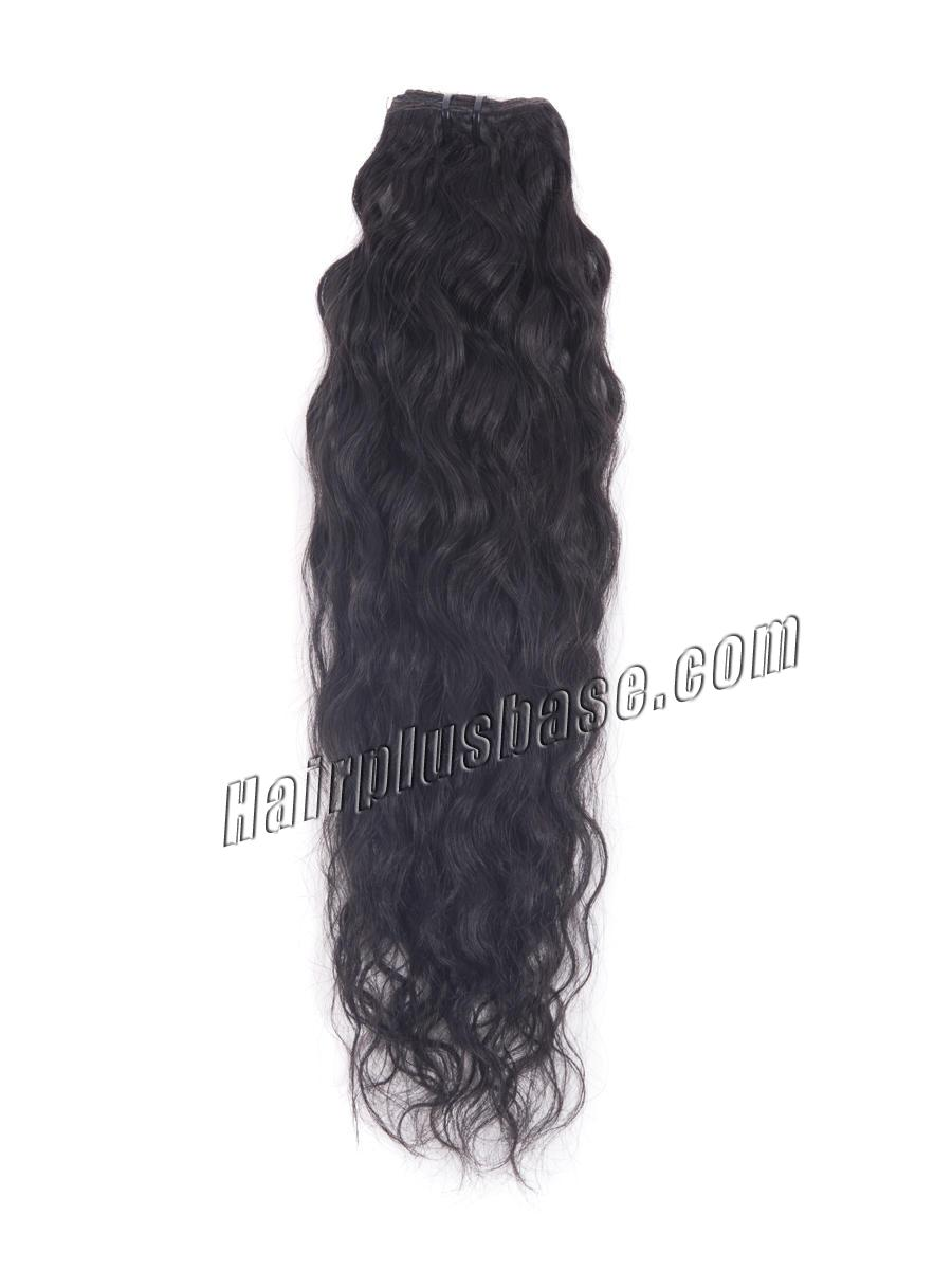 16 Inch #1 Jet Black Glamorous Clip In Hair Extensions Loose Wavy 7 Pcs no 1