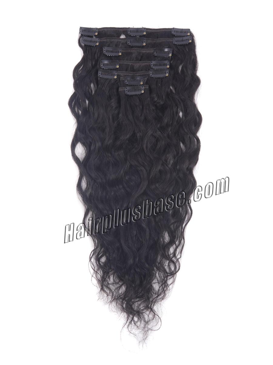 16 Inch #1 Jet Black Glamorous Clip In Hair Extensions Loose Wavy 7 Pcs no 2