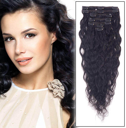 16 Inch #1 Jet Black Glamorous Clip In Hair Extensions Loose Wavy 7 Pcs