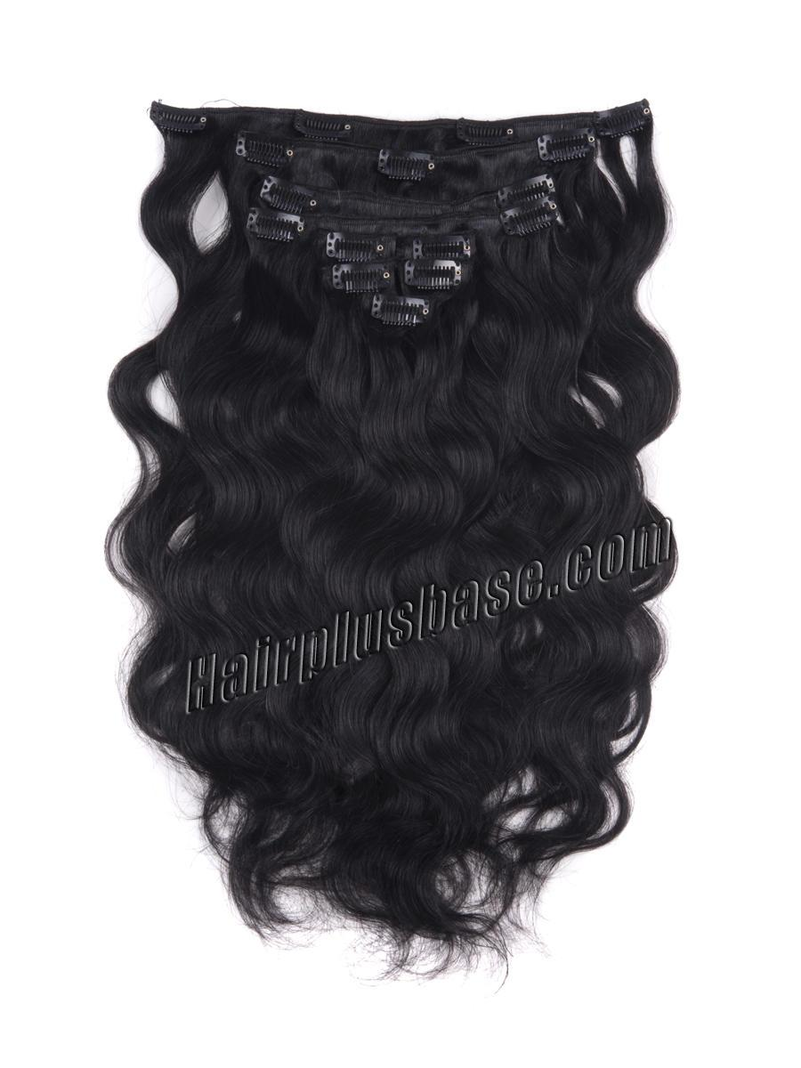 16 Inch #1 Jet Black Good Clip In Indian Remy Hair Extensions Body Wave 7 Pcs at Great Price no 1