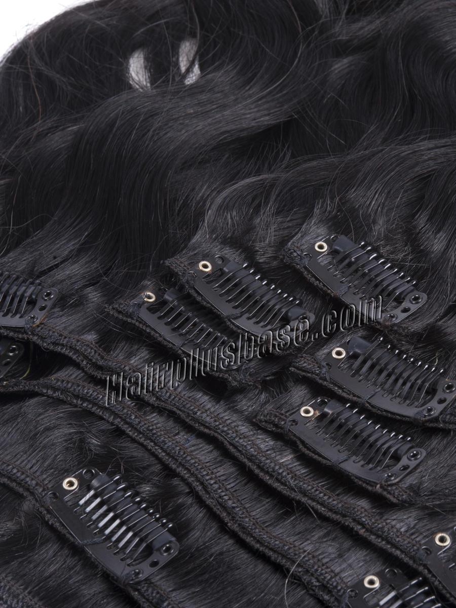 16 Inch #1 Jet Black Good Clip In Indian Remy Hair Extensions Body Wave 7 Pcs at Great Price no 3