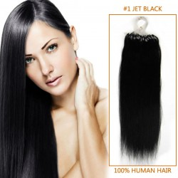 16 Inch #1 Jet Black Micro Loop Human Hair Extensions 100S
