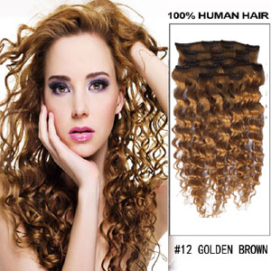 16 Inch #12 Golden Brown Clip In Hair Extensions Curly 7 Pieces Sets