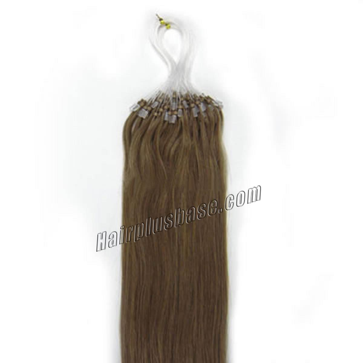 16 Inch #12 Golden Brown Micro Loop Human Hair Extensions 100S no 2