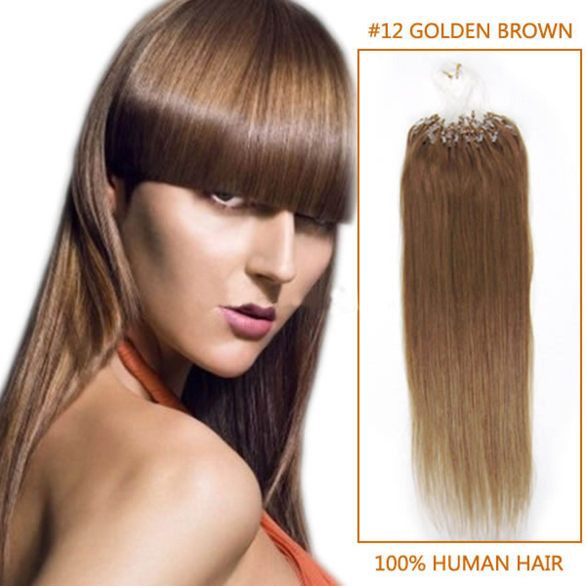 16 Inch #12 Golden Brown Micro Loop Human Hair Extensions 100S