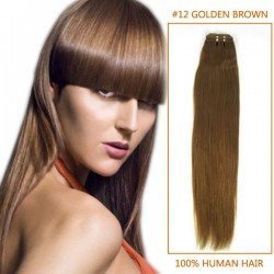 16 Inch #12 Golden Brown Straight Indian Remy Hair Wefts