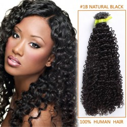 16 Inch #1b Natural Black Afro Curl Indian Remy Hair Wefts