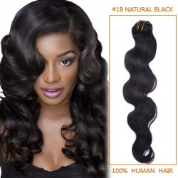 16 Inch #1b Natural Black Body Wave Indian Remy Hair Wefts