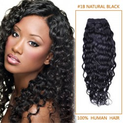 16 Inch #1b Natural Black Curly Brazilian Virgin Hair Wefts