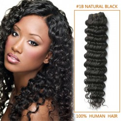 16 Inch #1b Natural Black Deep Wave Indian Remy Hair Wefts