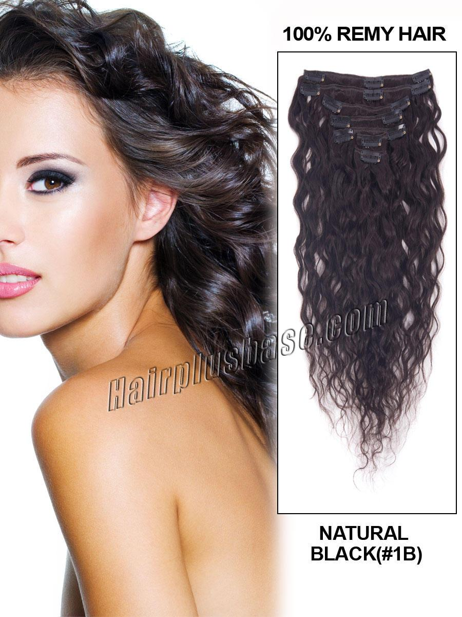 16 Inch #1B Natural Black Practical Clip In Remy Hair Extensions French Wavy 7 Pcs no 1