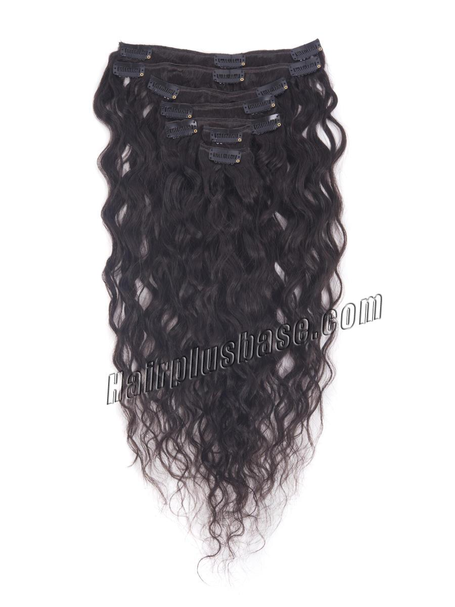 16 Inch #1B Natural Black Practical Clip In Remy Hair Extensions French Wavy 7 Pcs no 2