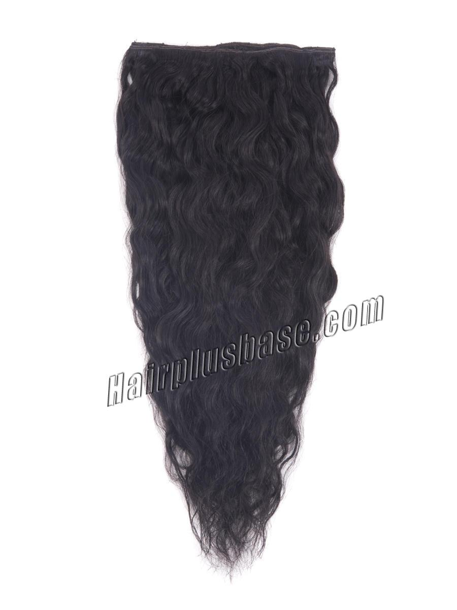 16 Inch #1B Natural Black Practical Clip In Remy Hair Extensions French Wavy 7 Pcs no 3