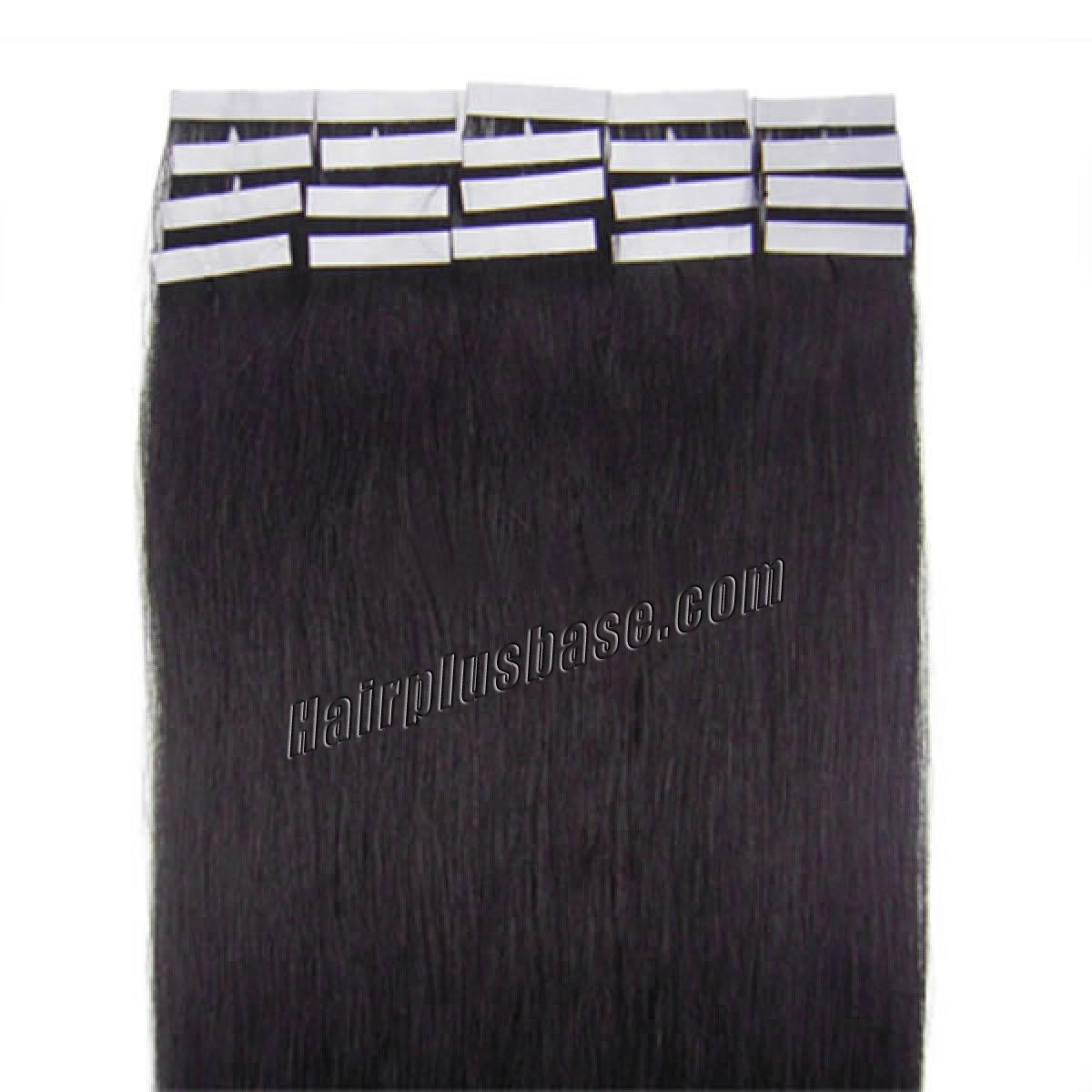 16 Inch #1b Natural Black Tape In Human Hair Extensions 20pcs no 2