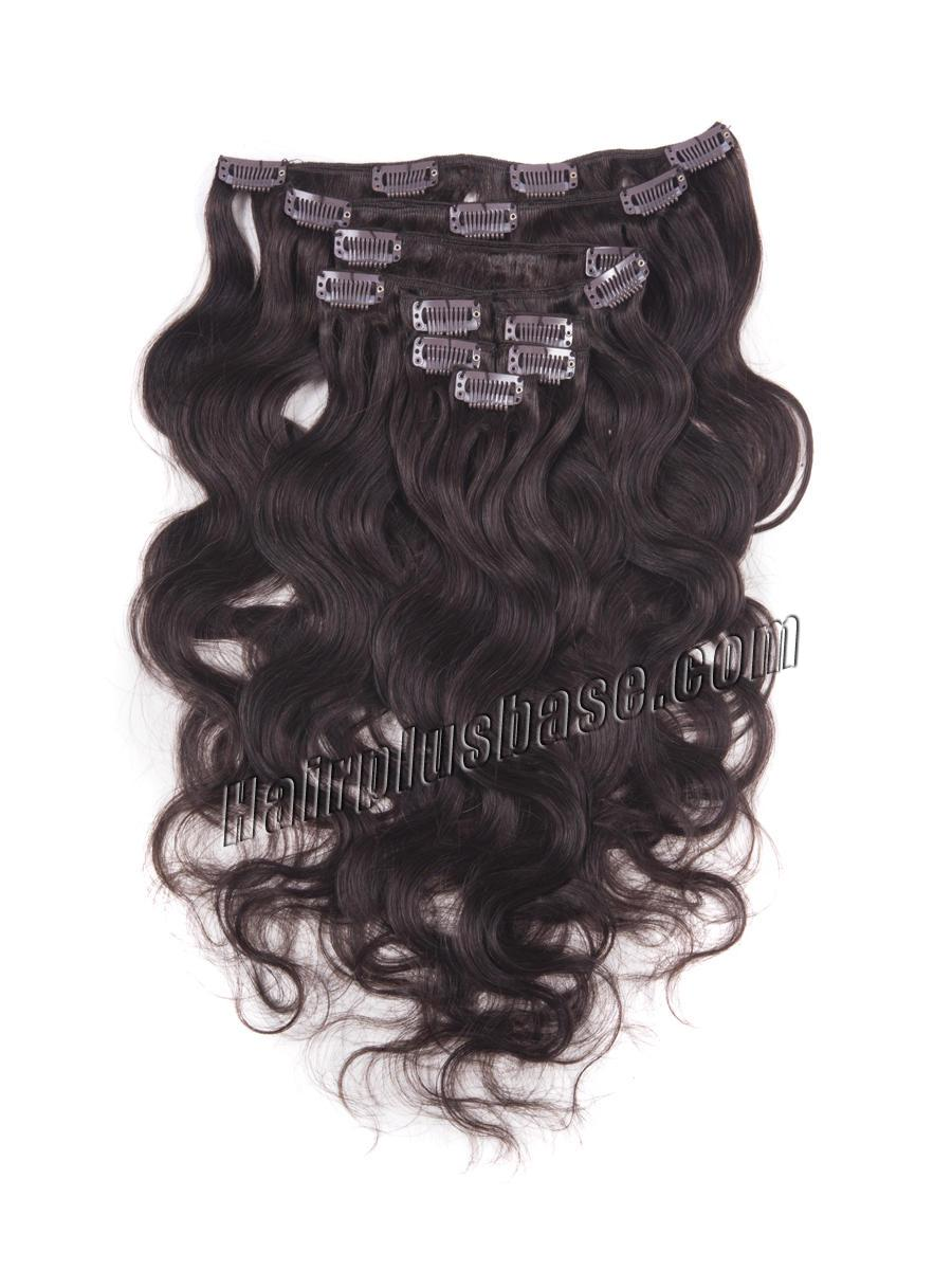 16 Inch #2 Dark Brown Clip In Human Hair Extensions Body Wave 7 Pcs in Good Quality no 1