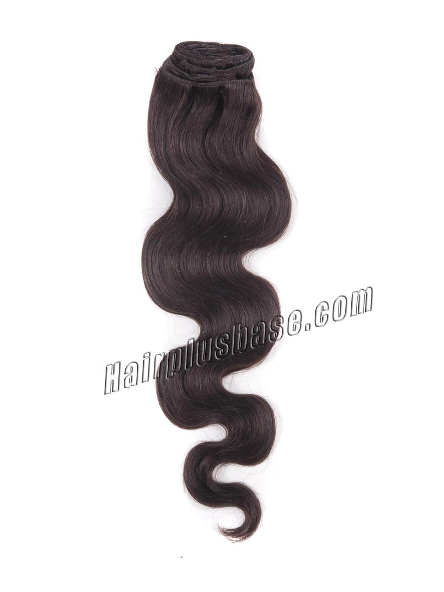 16 Inch #2 Dark Brown Clip In Human Hair Extensions Body Wave 7 Pcs in Good Quality no 2