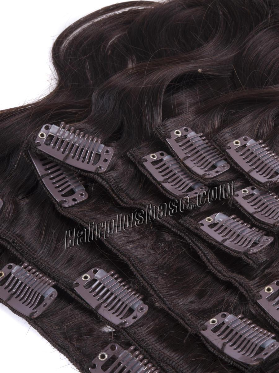 16 Inch #2 Dark Brown Clip In Human Hair Extensions Body Wave 7 Pcs in Good Quality no 3