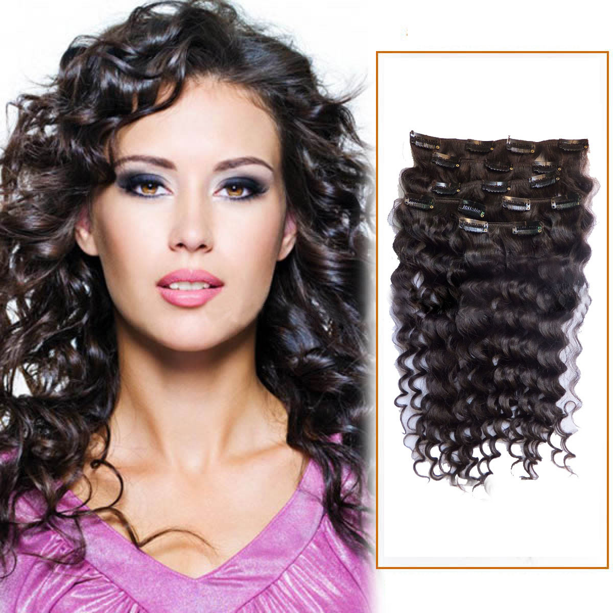 16 Inch 2 Dark Brown Clip In Human Hair Extensions Deep Curly 7 Pcs