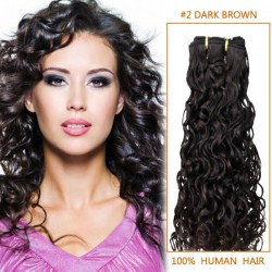 16 Inch #2 Dark Brown Curly Indian Remy Hair Wefts