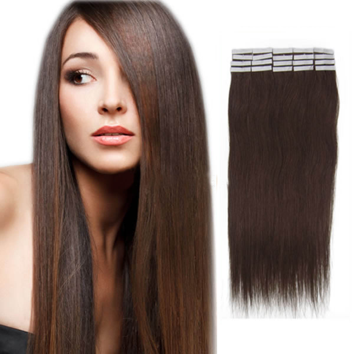 16 Inch 2 Dark Brown Tape In Human Hair Extensions 20pcs