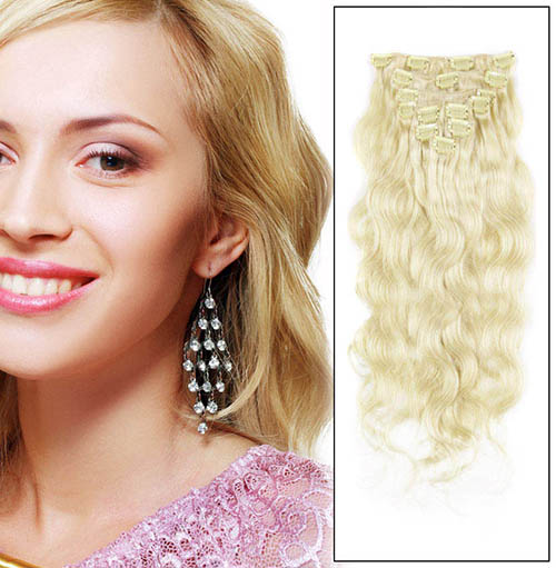 16 Inch #24 Ash Blonde Clip In Human Hair Extensions Body Wave 7 Pcs at Great Price