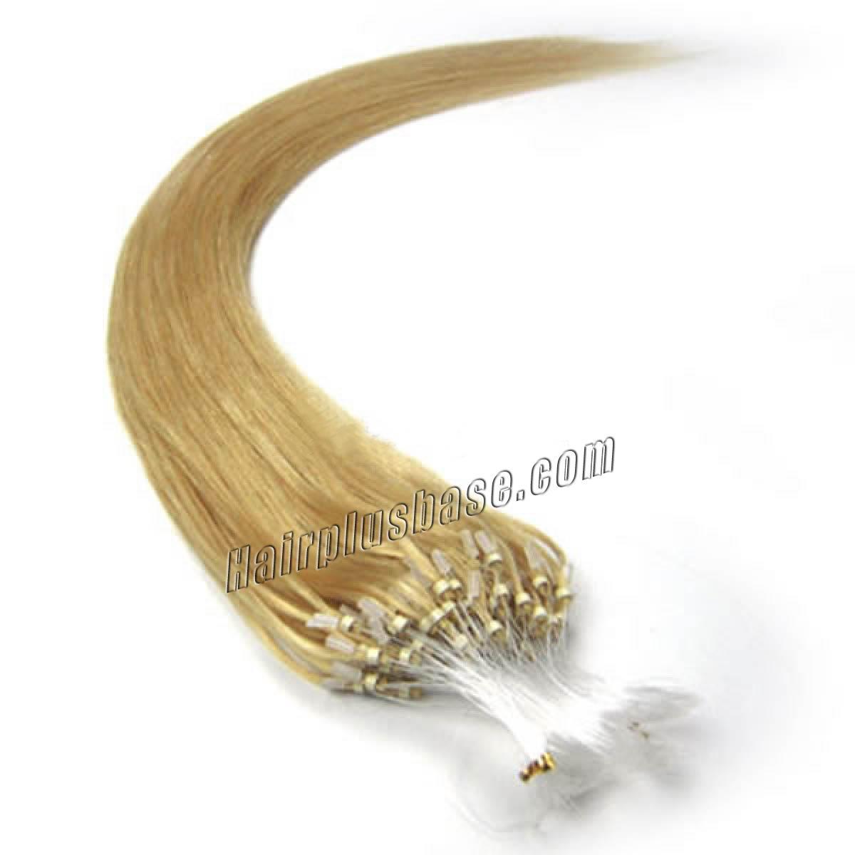 16 Inch #24 Ash Blonde Micro Loop Human Hair Extensions 100S no 1