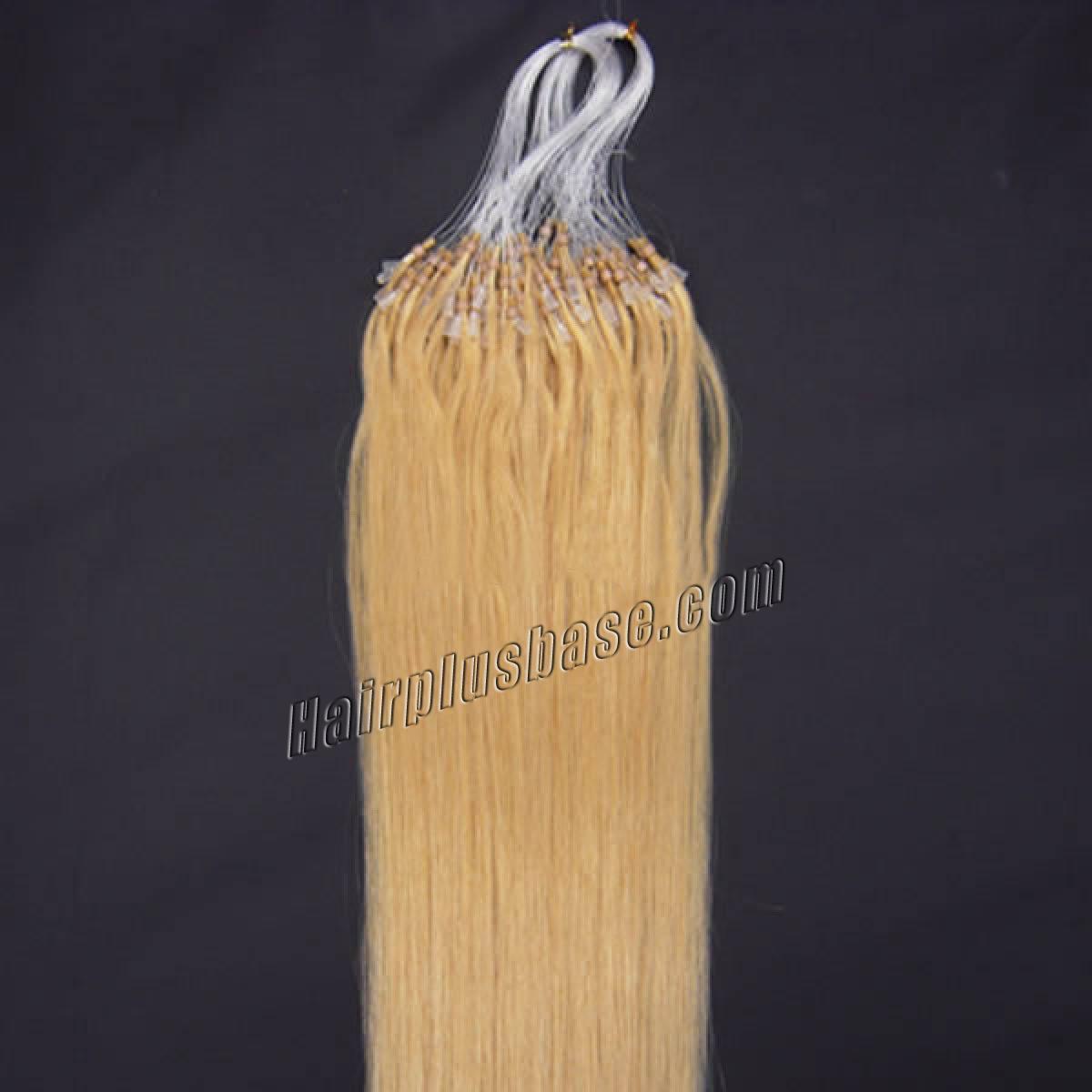 16 Inch #24 Ash Blonde Micro Loop Human Hair Extensions 100S no 2