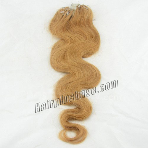 16 Inch #27 Strawberry Blonde Body Wave Micro Loop Hair Extensions in Good Sense 100 Strands no 1