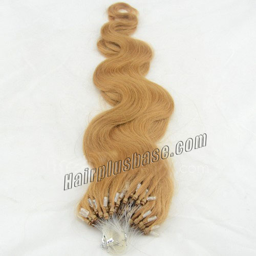 16 Inch #27 Strawberry Blonde Body Wave Micro Loop Hair Extensions in Good Sense 100 Strands no 2