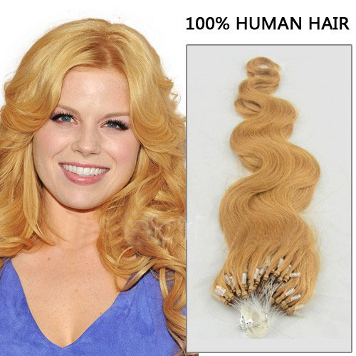 16 Inch #27 Strawberry Blonde Body Wave Micro Loop Hair Extensions in Good Sense 100 Strands