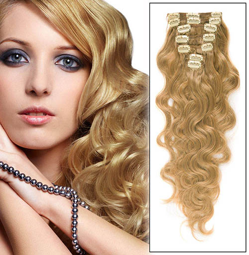16 Inch #27 Strawberry Blonde Clip In Indian Remy Hair Extensions Lustrous Body Wave 7 Pcs