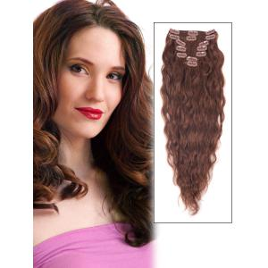 16 Inch #33 Dark Auburn Clip In Hair Extensions Loose Wavy Simple 7 Pcs