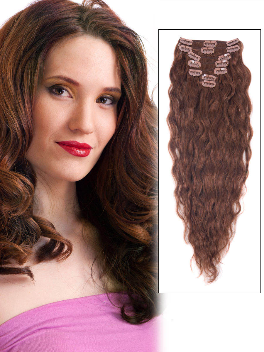 16 Inch 33 Dark Auburn Clip In Hair Extensions Loose Wavy Simple 7 Pcs