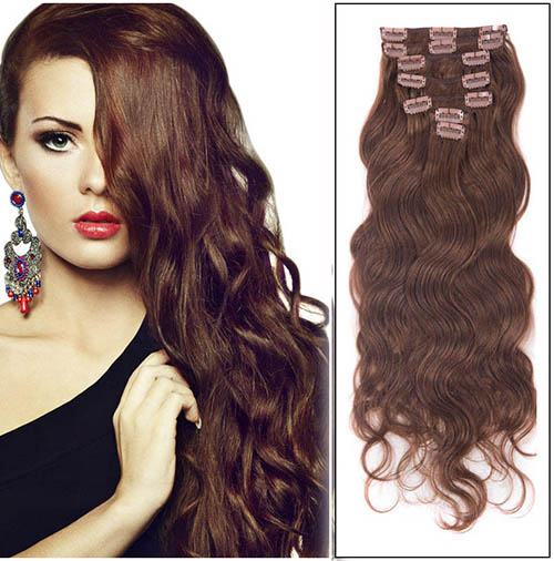 16 Inch #33 Rich Copper Red Clip In Hair Extensions Body Wave Practical 7 Pcs